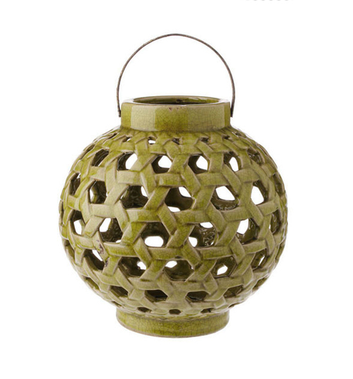 "10.25"" Tea Garden Caladium Leaf Green Glazed Terracotta Crackled Decorative Pillar Candle Lantern - IMAGE 1"