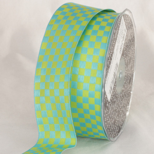 """Blue and Green Checkered Wired Craft Ribbon 1.5"""" x 54 Yards - IMAGE 1"""