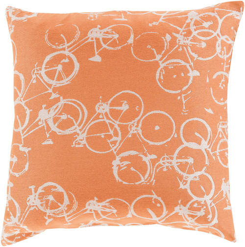 """18"""" Orange and White Crazed Cycles Printed Square Throw Pillow - IMAGE 1"""