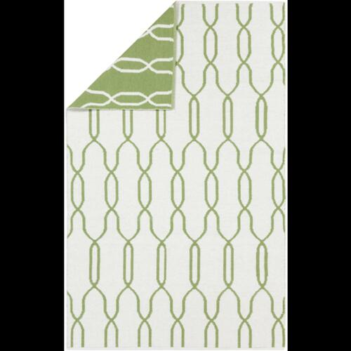 5' x 8' Green and White Reversible Area Throw Rug - IMAGE 1