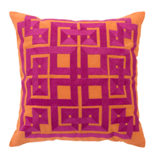 "22"" Burnt Orange and Magenta Pink Square Throw Pillow - Down Filler - IMAGE 1"