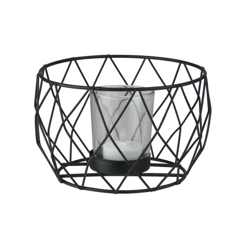 "5.5"" Diamond Patterned Black Tea Light Candle Holder - IMAGE 1"