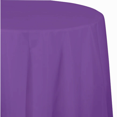 """Club Pack of 12 Amethyst Purple Solid Disposable Octy-Round Party Table Covers 82"""" - IMAGE 1"""