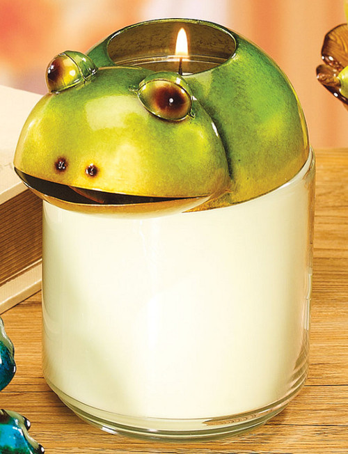 """5.5"""" Green and White Hand Painted Frog Jar Candle Topper - IMAGE 1"""