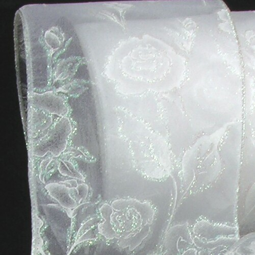 "White Wedding Rose Wired Craft Ribbon 2"" x 20 Yards - IMAGE 1"