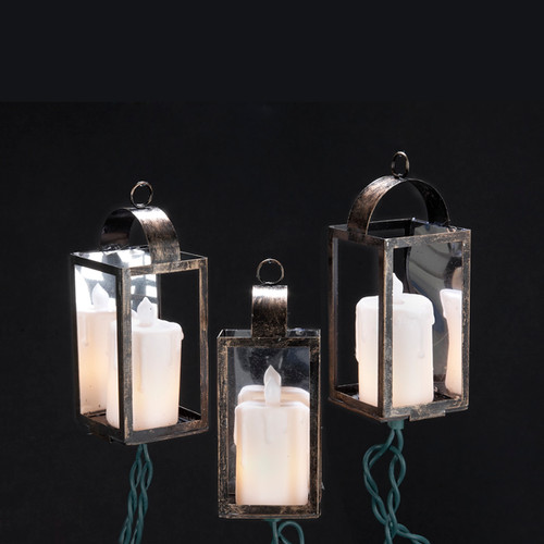 10-Count Pillar Candle in Mirrored Lantern LED Christmas Lights, 2ft Green Wire - IMAGE 1