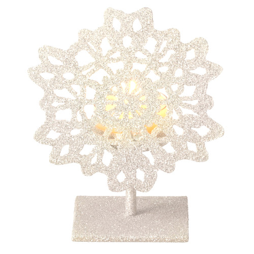 """5"""" Silent Luxury Off-White Glitter Drenched Snowflake Tea Light Candle Holder - IMAGE 1"""