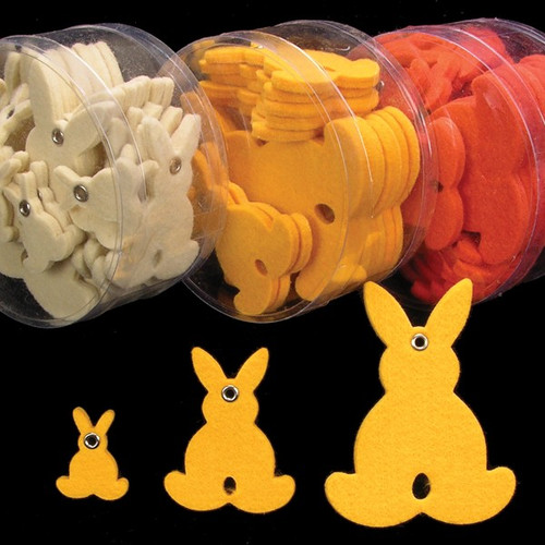 """Club Pack of 144 Yellow Fuzzy Felt Easter Bunnies 3"""" - IMAGE 1"""