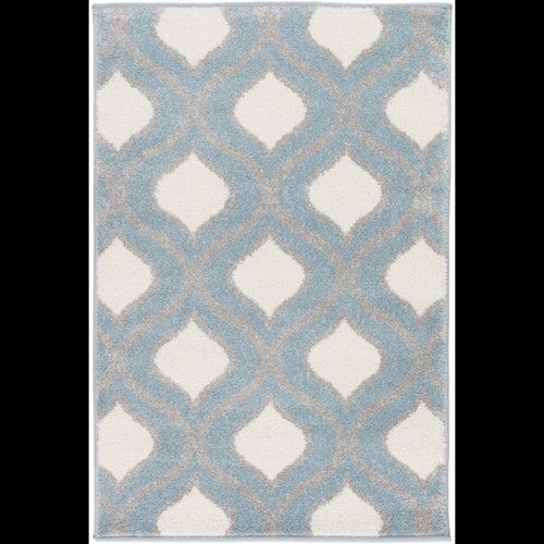 2' x 3' Gated Raindrops Pale Steel Blue, Light Charcoal Gray and Ivory Area Throw Rug - IMAGE 1