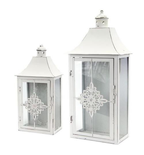 """Set of 2 Vintage Rose White Distressed Pillar Candle Lanterns 19.5"""" - IMAGE 1"""