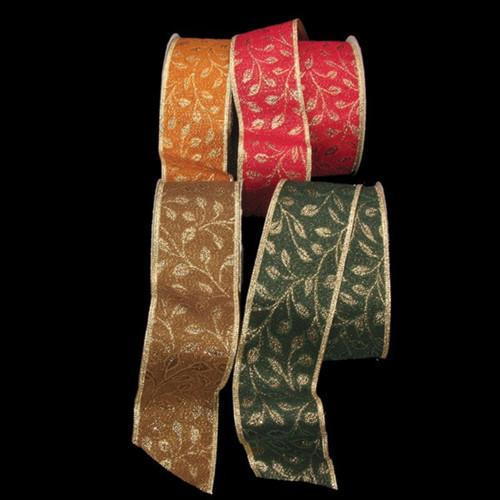"Gold Glitter Leaf Print Fabric Wired Craft Ribbon 2.5"" x 20 Yards - IMAGE 1"
