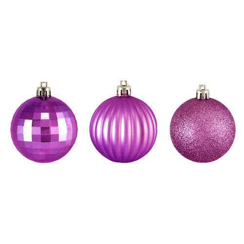 "100ct Orchid Pink Shatterproof 3-Finish Christmas Ball Ornaments 2.5"" (60mm) - IMAGE 1"