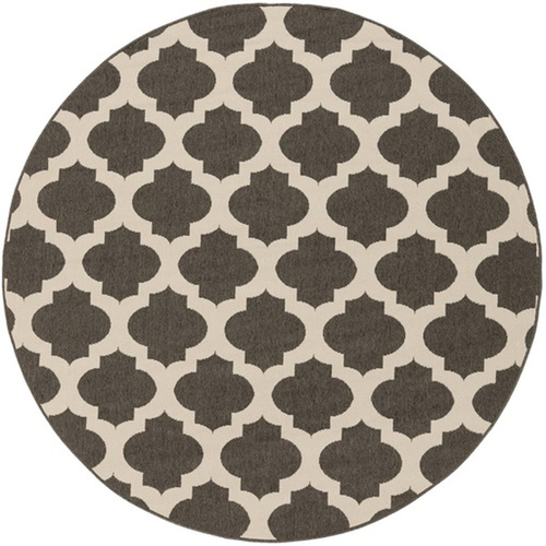 8.75'' Brown and Pink Contemporary Machine Woven Outdoor Round Area Throw Rug - IMAGE 1