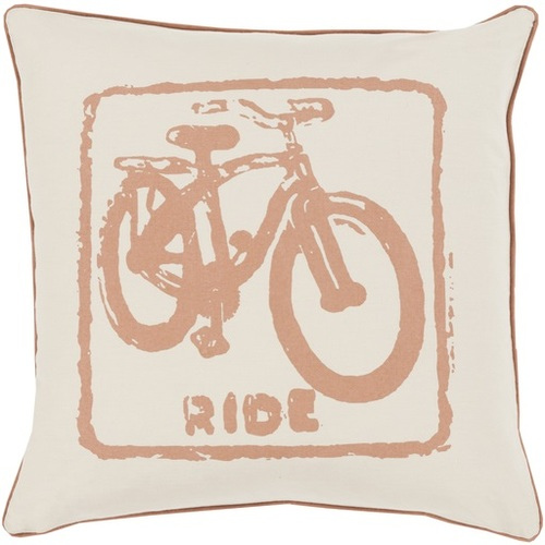 """18"""" Beige and Brown Contemporary Ride Square Throw Pillow - Down Filler - IMAGE 1"""