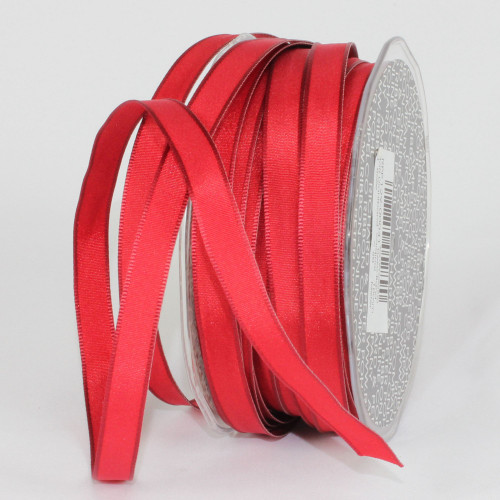 """Scarlet Red French Wired Craft Ribbon 0.25"""" x 108 Yards - IMAGE 1"""
