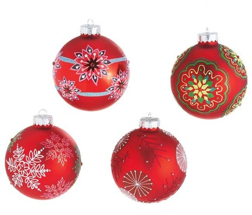 """4ct Dazzling Red Snowflake Glass Christmas Ball Ornaments 3.5"""" (90mm) - IMAGE 1"""
