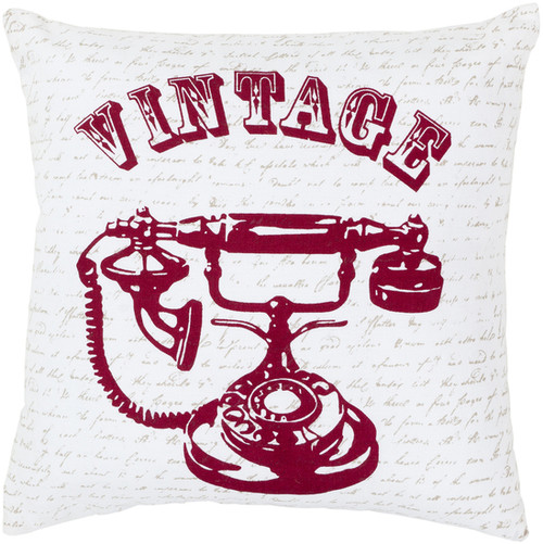 """22"""" White and Red Square Cotton Throw Pillow - Down Filler - IMAGE 1"""