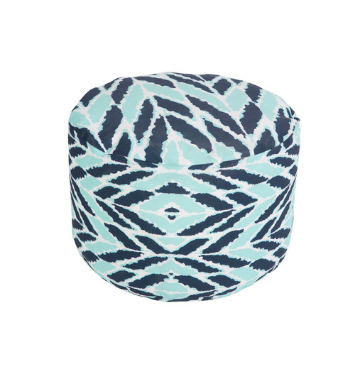 """20"""" Cobalt Blue and Blue Mint Wrapped Leaves Round Outdoor Patio Pouf Ottoman - IMAGE 1"""