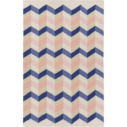 8' x 11' Chevrons Navy Blue and Rose Pink Hand Woven Wool Area Throw Rug - IMAGE 1
