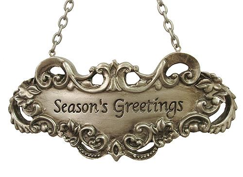 "5"" Gold Victorian 'Seasons Greetings' Christmas Ornament Wine Label - IMAGE 1"