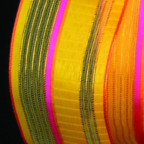 """Yellow and Pink Stripe Wired Craft Ribbon 1.5"""" x 54 Yards - IMAGE 1"""