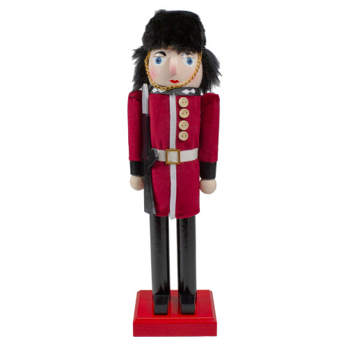 """14"""" Red and Black Royal Guard Christmas Nutcracker Soldier with Rifle - IMAGE 1"""