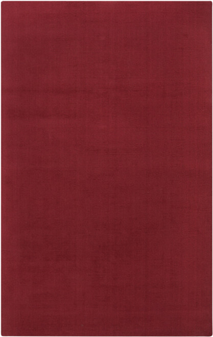 5' x 8' Brick Red Solid Hand-Loomed Rectangular Wool Area Throw Rug - IMAGE 1
