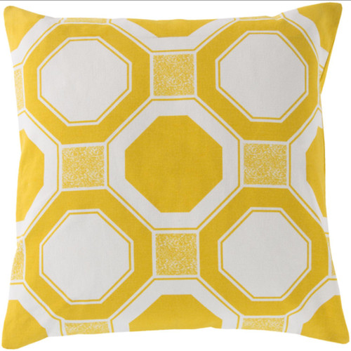 """20"""" Yellow and White Octagon Lock Square Throw Pillow - IMAGE 1"""