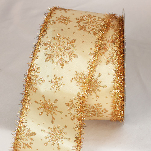 """Beige and Gold Glitter Tinsel Christmas Snowflakes Wired Craft Ribbon 3"""" x 20 Yards - IMAGE 1"""