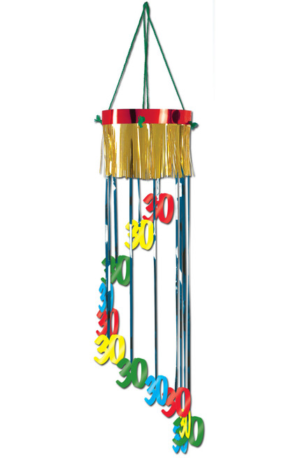 """Pack of 12 Shimmering Metallic """"30th"""" Birthday Spiral Hanging Party Decorations 40"""" - IMAGE 1"""