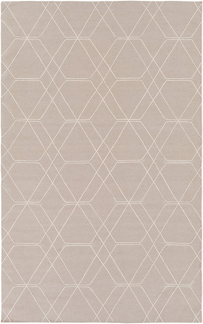 2.5' x 8' Geometric Taupe Brown and Beige Hand Tufted Rectangular Wool Area Throw Rug Runner - IMAGE 1