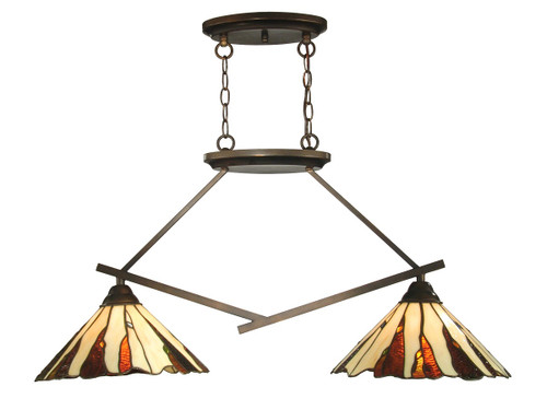 """35.5"""" Copper Bronze Ripley 2-Light Hand Crafted Glass Hanging Island Ceiling Light Fixture - IMAGE 1"""
