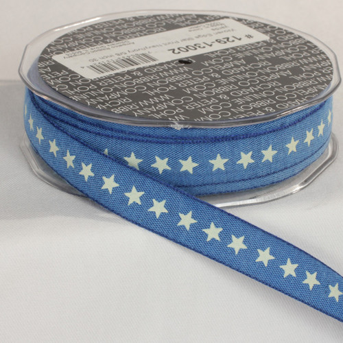 "Blue and Ivory Star Printed Woven Edge Craft Ribbon 0.62"" x 60 Yards - IMAGE 1"
