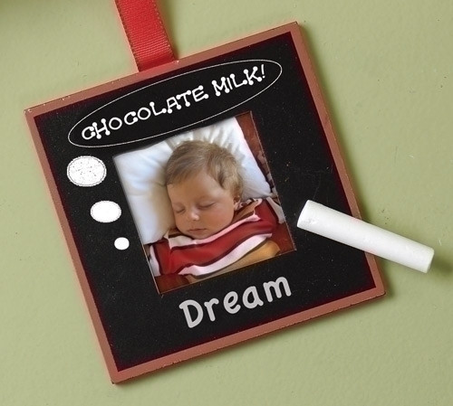 """4"""" Black and White Chalk Board Photo Picture Frame Christmas Ornament - IMAGE 1"""