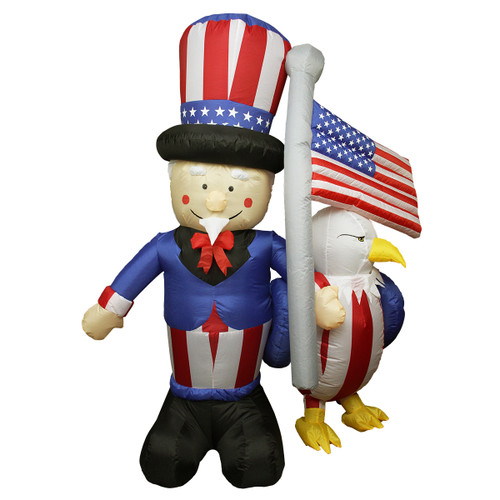 6' Blue and Red Inflatable Lighted Uncle Sam with American Flag and Eagle Outdoor Decor - IMAGE 1
