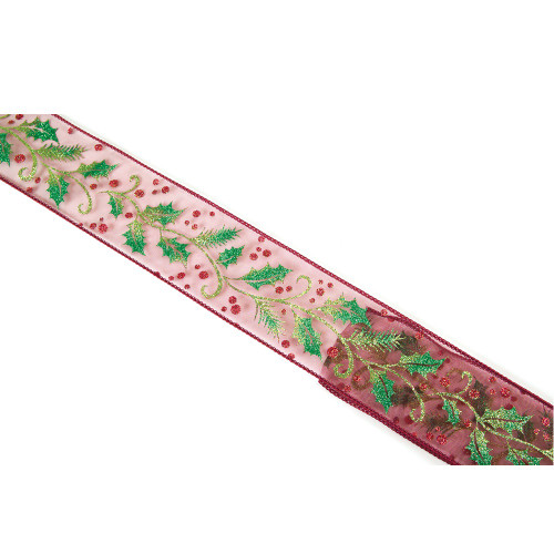 """Red and Green Berries Wired Christmas Craft Ribbon 2.5"""" x 10 Yards - IMAGE 1"""