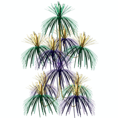 """Club Pack of 12 Gold and Purple Firework Chandelier Hanging Party Decors 24"""" - IMAGE 1"""