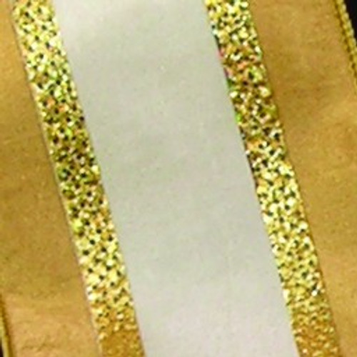 """Ivory and Gold Maximilian French Wired Craft Ribbon 2.5"""" x 20 Yards - IMAGE 1"""