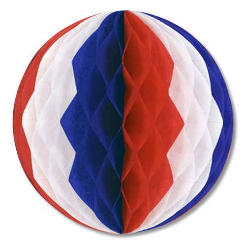 """Club Pack of 12 Red, White and Blue Honeycomb Hanging Tissue Ball Party Decorations 12"""" - IMAGE 1"""