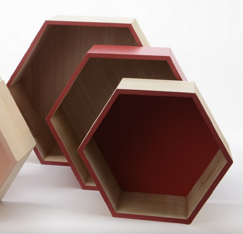 """Set of 3 Brown Hexagonal Shadow Boxes with Red Accents 15.5"""" - IMAGE 1"""