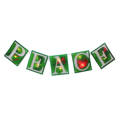 """10-Count Green and Clear Shimmering """"PEACE"""" Garland Mini Christmas Light Set, 4.5ft White Wire - IMAGE 1"""
