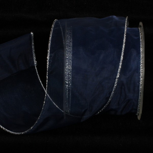 """Royal Blue and Silver Sheer Wired Craft Ribbon 3"""" x 27 Yards - IMAGE 1"""