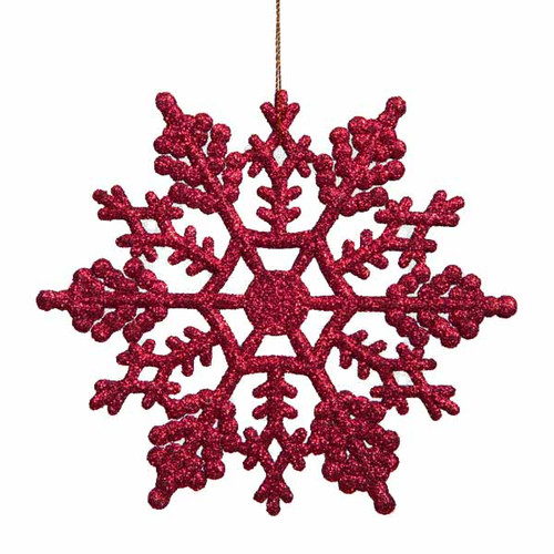 "24ct Berry Red Glitter Snowflake Christmas Ornaments 4"" (100mm) - IMAGE 1"