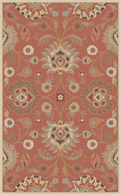 6' x 9' Tawny Brown and Blue Hand Tufted Wool Area Throw Rug - IMAGE 1