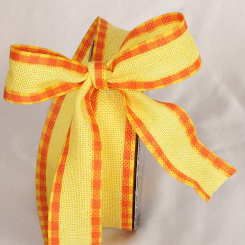 "Yellow and Orange Plaid Wired Craft Ribbon 1.5"" x 40 Yards - IMAGE 1"