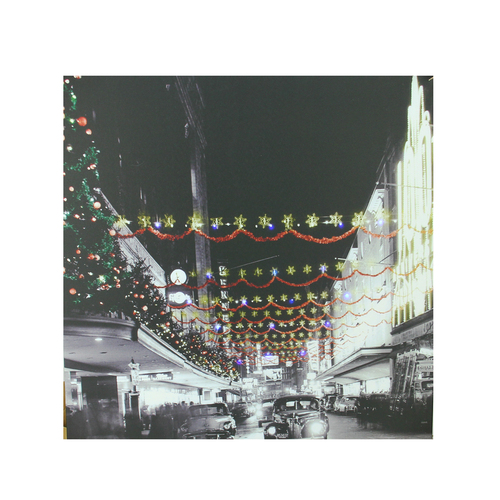 """LED Lighted Christmas on Main Street in Pittsburgh Canvas Wall Art 19.75"""" x 19.75"""" - IMAGE 1"""
