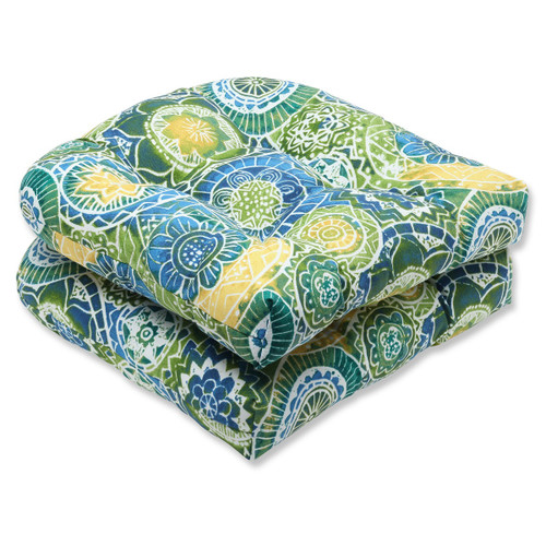 """Set of 2 Laguna Mosaico Blue, Green and Yellow Outdoor Patio Wicker Chair Cushions 19"""" - IMAGE 1"""