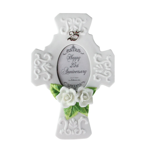 "25th Wedding Anniversary Porcelain Trinket Box 2""x3"" Photo Picture Frame #60861 - IMAGE 1"