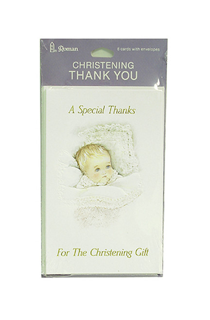 """8pc White Christening Thank You Cards With Envelopes 5.5"""" - IMAGE 1"""