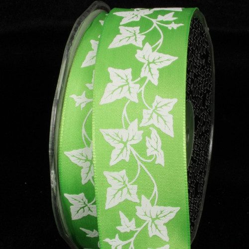 """Green and Spring White Print Wired Craft Ribbon 1.5"""" x 27 Yards - IMAGE 1"""